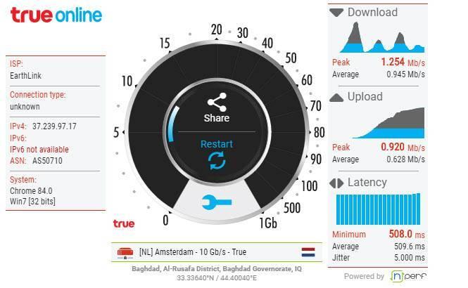 السرعة الحقيقية للانترنت
