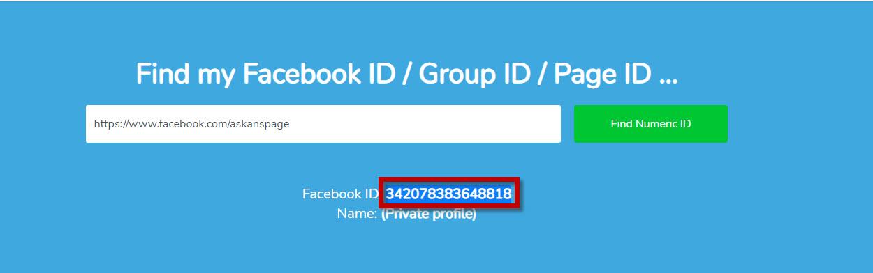 ايجاد id للفيسبوك
